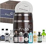 probierFass Gin Set   10 originale Gin Miniaturen (7 x 0.05 l und 3 x 0.04 l) verpackt in einem originellen Fass mit Geschenkverpackung   Gin Geschenk   Gin Probierset   Gin Geschenkset