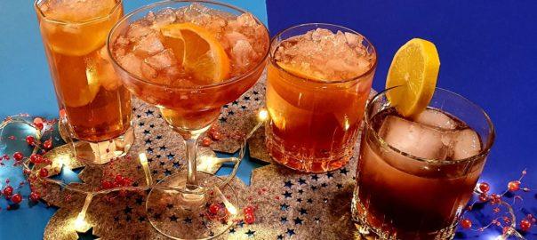 Verschiedene Sloe Gin Cocktails